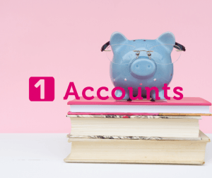 1 Accounts Piggy Bank on books