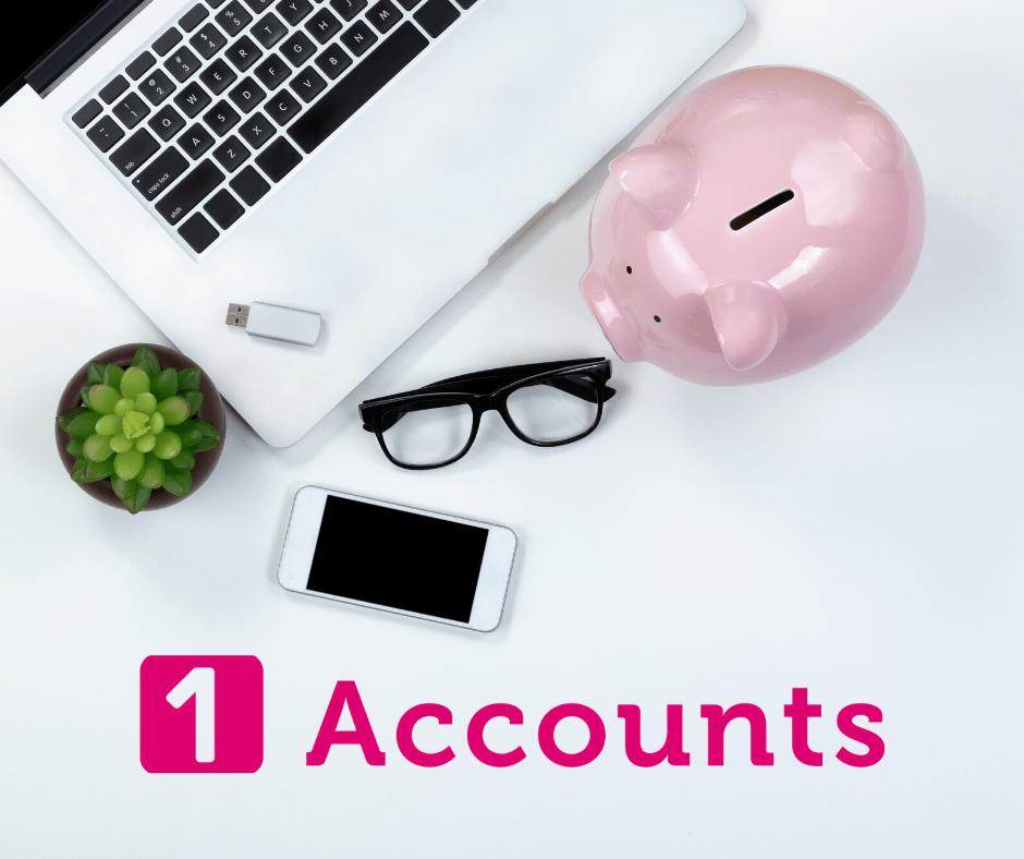 1 Accounts finance laptop piggy bank