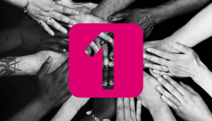 Hands in the middle with 1 Accounts logo