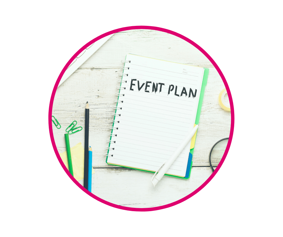 Event plan written on notepad